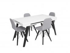 Modern Grey Dining Chair Wooden Black Legs Grey Padded Seat Eames Eiffel Retro Style - Azteca Trio (D09-TXK_ULTRA-TX058-1-TK_BAKU_1_GREY)