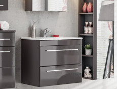 Modern Vanity Bathroom Cabinet Unit with Ceramic Sink Grey Matt & Gloss  - Twist