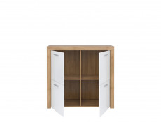 Small Square Cabinet Sideboard in White Gloss & Oak finish - Balder