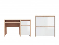 Office Furniture Set 1 Sonoma Oak & White Gloss - Kaspian