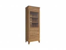 Traditional Tall Glass Display Cabinet with LED Light in Oak finish - Bergen