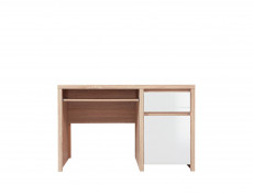 Sonoma Oak & White Gloss Study Office Desk with Cabinet & Drawer - Kaspian