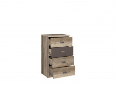 Urban Narrow Bedroom Chest of Drawers Storage Unit 4-Drawer 50cm Oak/Grey - Malcolm