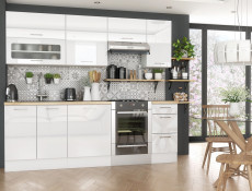 White High Gloss Tall Kitchen Larder Cabinet Pantry 600 Cupboard 2 Doors 60cm Unit - Rosi