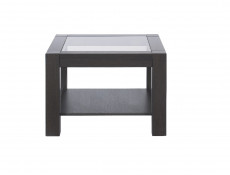 Modern Wenge Dark Wood 64cm Coffee Occasional Side Table Sturdy Square Design with Safety Glass Top - Rumbi
