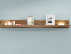 Modern Living Room Wall Mounted Floating Panel Shelf LED Light 139cm Oak- Gent