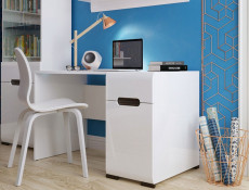 Wide Office Study Desk White Gloss & Oak - Azteca (S205-BIU1D1S/8/12-BIP/WEM-KPL01)