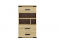 Modern Industrial Chest of Drawers Storage Unit with Open Storage Shelving Belarus Ash - Lara