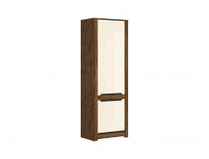 Modern Tall Storage Cabinet 2 Door Unit in Cream Gloss and Dark Oak Finish - Ruso