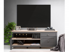 Modern TV Cabinet Media Storage Unit with Drawers Country Grey/Oak Effect - Bocage