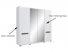 Four Door Wardrobe with Mirrors Hanging Rail, Shelves in White Gloss and White Matt - Azteca (SZF2D2L/21/22)