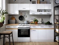 Modern Free Standing Kitchen Cabinet 400 Base 3-Drawer Unit 40cm White/White Gloss - Junona (K24-D3S/40/82-BI/BIP/DCRZ-KPL01)