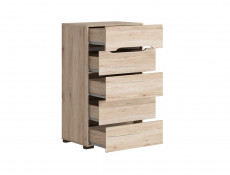 Compact Slim Five Drawer Tallboy Storage Narrow Chest of Drawers in Light Oak Effect Finish - Elpasso