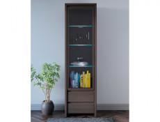 Modern Glass Front Display Cabinet Wenge Brown - Kaspian (S128-REG1W2S-WE/WE-KPL01)