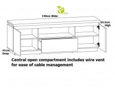 Modern White Gloss / Oak Effect Finish 158cm TV Cabinet Stand Entertainment Unit with Soft Close - Erla