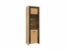 Tall Slim Glass Fronted Display Cabinet with LED Lights in Oak Wood Veneer Black Gloss - Arosa