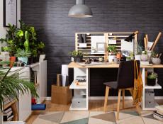 Modern Home Office Study 5 Piece Furniture Set Wall Shelving Mobile Unit Desk White Gloss/Oak Finish – Denton
