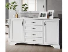 Classic White Matt Sideboard Dresser 4 Drawer Storage Cabinet Large 2 Door 154cm - Idento