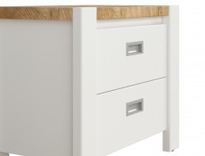 Country Cottage Bedside Cabinet Side Table with Drawers White/Oak - Dreviso