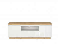 Modern White Gloss / Oak finish Living Room Furniture Set with Display Cabinets Sideboard - Erla (S426-LIVING SET)