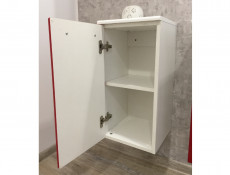 Wall Mounted Bathroom Cabinet 1 Door Unit Red High Gloss without worktop - Coral (Coral D30 P/L Red No Top)