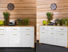 Modern White Gloss & Oak King Size Bedroom Furniture Set - Bari