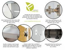 Light Dove Grey Gloss Kitchen Cabinets 9 Unit Set with Oven Housing Slim 40cm Larder - Luna (STO-LUNA_SET-7UNITS-DK-40CMSL-SZ-SZP)