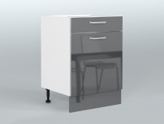 Free Standing Grey Gloss Kitchen Cabinet Base Unit Drawer and Door 60cm 600mm - Modern Luxe
