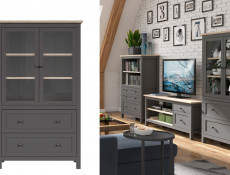 Modern Living Room Furniture Set Cabinet  Shelving TV Unit Country Rustic Style in Grey / Oak Effect - Bocage