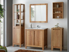 Free Standing Vanity Bathroom Cabinet, Sink, Tall Storage Unit & Wall Mounted Mirror 80cm 800mm Oak - Classic Oak
