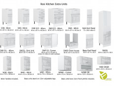 Modern White High Gloss Kitchen Cabinets Cupboards Set of 9 Units with Oven Housing and Larder 300cm - Rosi