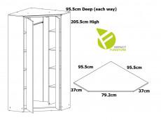 Urban Free Standing Double 2 Door Corner Wardrobe Storage Unit Oak Effect and Grey Finish - Malcolm (S325-SZFN2D-DAMO/SZW/DAMON-KPL01)