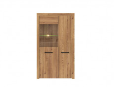 Modern Wide Glass Fronted Display Cabinet Unit in Oak finish with LED Lights - Vasto