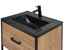 Industrial Oak & Metal Bathroom Furniture Set Tall Unit Tallboy 80cm Vanity Cabinet Black Ceramic Sink - Brooklyn (BROOKLYN_821_BLACK_SET)