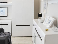 White Gloss Modern Two Door Double Wardrobe with White / Wenge / Black Gloss insert - Azteca Trio
