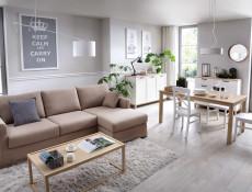 Scandinavian Sideboard Small Cabinet Dresser with Drawers in Grey & Oak - Haga (KOM1D4S)