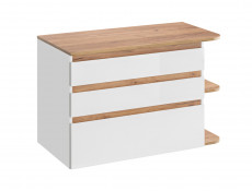 Modern Wall Vanity Bathroom Cabinet Countertop Unit with Drawers White/White Gloss Oak - Platinum (PLATINUM_820_WHITE)
