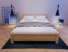 Modern Low Double Bed Frame in Wenge Finish - Kaspian (S128-LOZ/140-DSO/DSO-KPL01+D15-WKL140/L16)