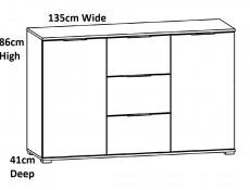 Modern Large Sideboard Dresser Cabinet Unit with Drawers White Gloss/Oak 135cm - Zele