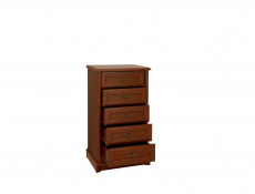 Vintage inspired Tallboy Tall Chest of 5 Drawers Chestnut finish - Kent