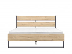 Industrial King Size Bed Frame with Wooden Bed Slats Openwork Headboard Oak finish - Gamla