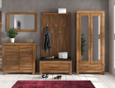 Modern Compact Oak Effect Hallway Furniture Set with Storage Seat Shoe Bench & Wall Coat Hanger Hooks - Gent