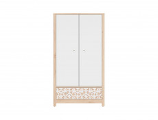 Skandinavian Two Door Double Wardrobe with Drawer Kids Baby Nursery Furniture White / Beech - Timon