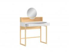Modern Dressing Table 1 Drawer & Round Mirror Shelf Extension in White Gloss / Oak Effect - Pori