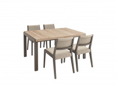 Grey Solid Wood Dining Chair with Beige Seat - Author