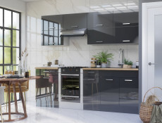 Free Standing Grey Gloss Kitchen Cabinets Base Cupboards Lift Up Wall Units Set 10 Units 240cm 2400mm  - Modern Luxe (STO-MODERN_LUX_SET-10-UNITS_2.4-GREY)