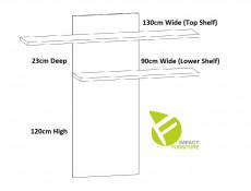 Modern Double Shelf Wall Mounted Panel Unit 130cm White/White Gloss - Assen