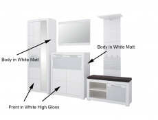 Shoe Cabinet Hallway Entrance Hall Modern White Gloss - Flames