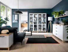 Scandinavian Sideboard Small Cabinet in White & Oak - Haga (S369-KOM2D-BIM/BIC-KPL01)