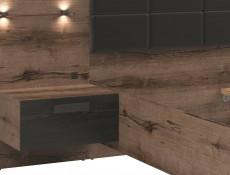 Elegant King Size Bed Frame Built-in Bedside Wall Cabinets USB LED Lighting Oak/Black - Kassel